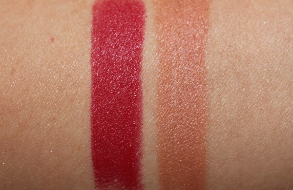 072 Shimmery Red & 070 Dazzling Beige Swatches