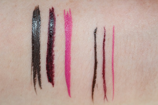 Highliner Liquid Gel Swatches - Mo'cha, Berry Deep & Back to the Fuchsia