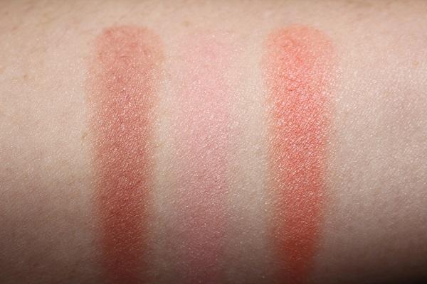 MAC Glow Play Blush Swatches - Blush Please, Cheeky Devil, That's Peachy