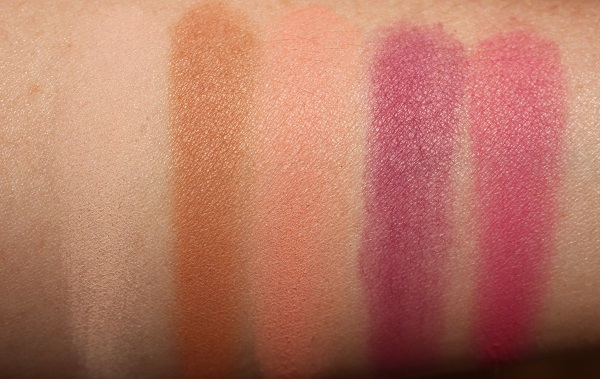 MAC Powder Kiss Eyeshadow Swatches - Best Of Me, What Clout!, Strike A Pose, Lens Blur and Fall In Love