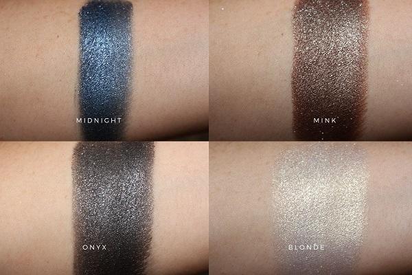Victoria Beckham Beauty Lid Lustre Swatches - Midnight, Mink, Onyx & Blonde