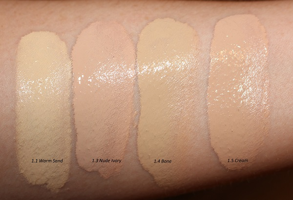 Tom Ford Traceless Soft Matte Foundation Swatches - Warm Sand, Nude Ivory, Bone, Cream