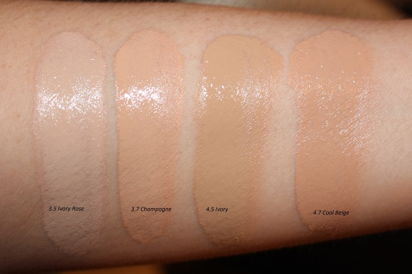 Tom Ford Traceless Soft Matte Foundation Swatches: Ivory Rose, Champagne, Ivory, Cool Beige