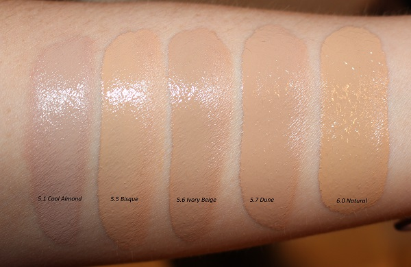 Tom Ford Traceless Soft Matte Foundation Swatches: Cool Almond, Bisque, Ivory Beige, Dune, Natural