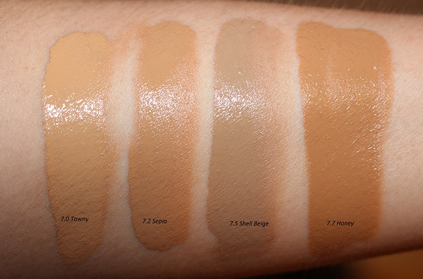 Tom Ford Traceless Soft Matte Foundation Swatches: Tawny, Sepia, Shell Beige, Honey