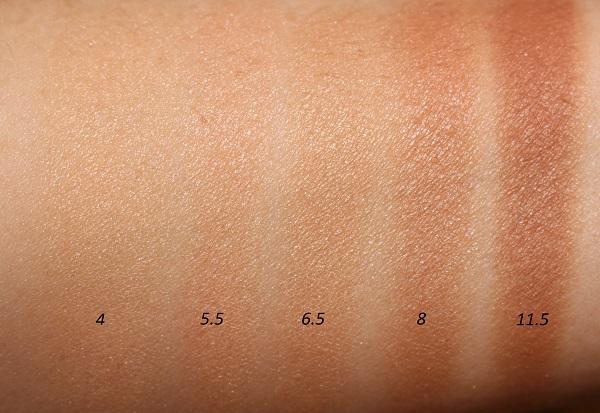 Armani Luminous Silk Glow Fusion Powder Swatches - 4, 5.5, 6.5, 8, 11.5